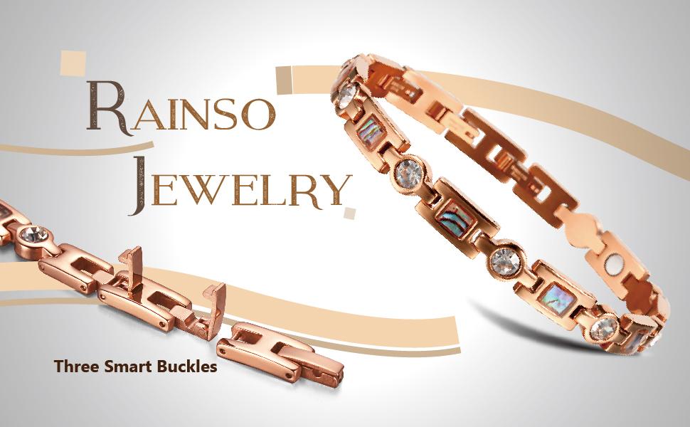 Rainso Womens Titanium Steel Golf Magnetic Therapy Bracelet Rhinestone Health Wristband with 3 Smart Buckle zJ8iVAw3J