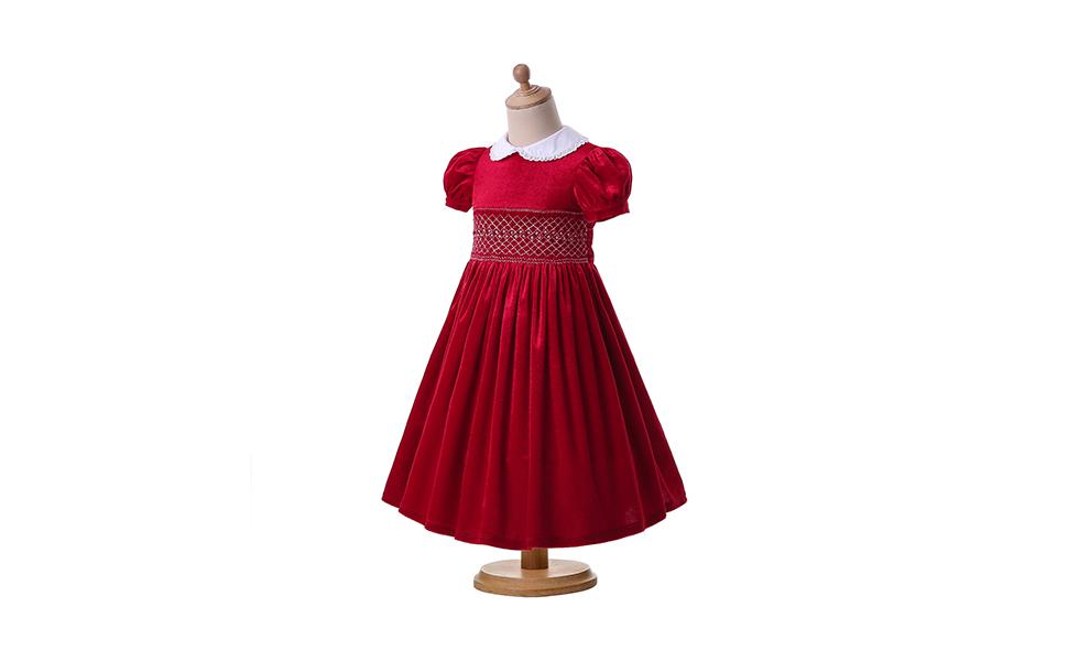 a082fba71 Amazon.com: Pettigirl Girls Smocked Dress Puff Sleeve Velvet Dresses ...