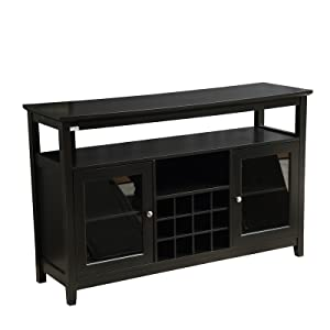 Mixcept 52 Concise Wooden Sideboard Wine Cabinet Buffet Table Tall Console Dining Server Storage Cabinet Open Shelf with Wine Rack Black