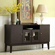 "Mixcept 60"" Tall TV Cabinet / Buffet Table, Espresso"