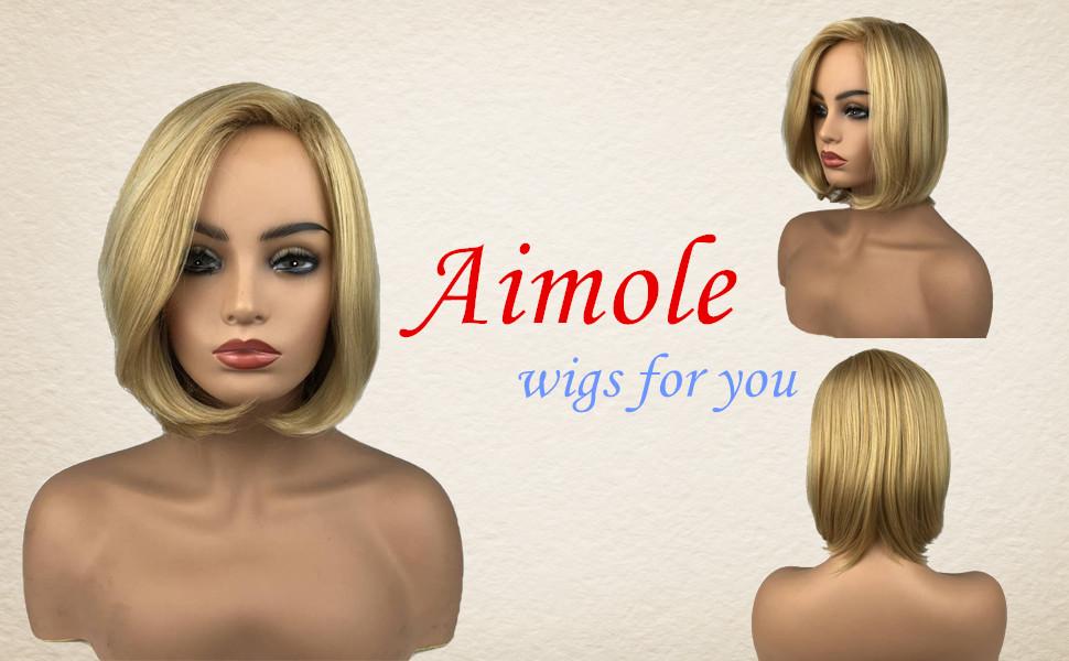 Aimole Women's Medium Length Straight Bob Wigs Blonde Synthetic Wig Full Capless Hair
