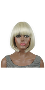 Short Straight Bob Wig Cute Flat Bangs Full Women Wigs with Dot Skin Top Pale Blonde