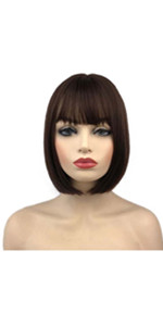 Short Bob Straight Wig with Cute Flat Bangs Synthetic Hair with Skin Top