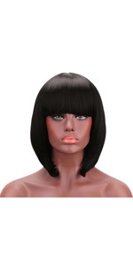 Short Bob Wig Yaki Straight Natural Black Synthetic Hair for Women Wigs with Simulated Scalp