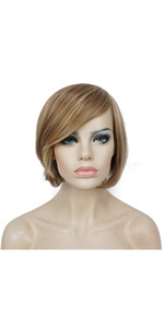 Aimole Women's Short Straight Bob Wig Strawberry Blonde Mix Natural Synthetic Full Wigs 6 Inches