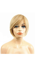 Short Straight Blonde Highlighted Bob Side Swept Bangs Wig Heat Resistance Full Wigs