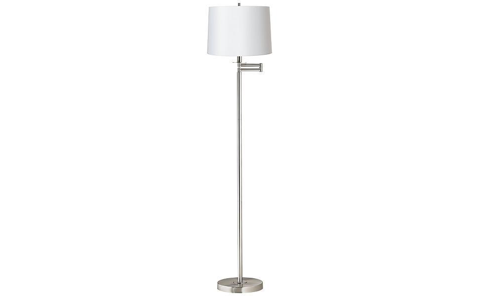 Modern Swing Arm Floor Lamp Brushed Nickel White Hardback Drum Shade For Living Room Reading Bedroom Office 360 Lighting
