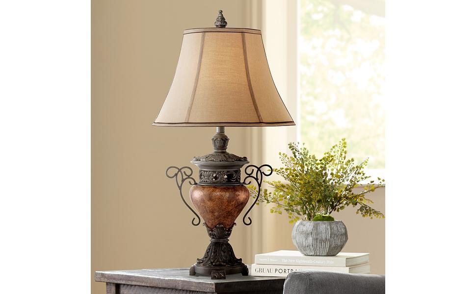 Amazon.com: Crackle Urn lámpara de mesa grande, Bronce: Home ...