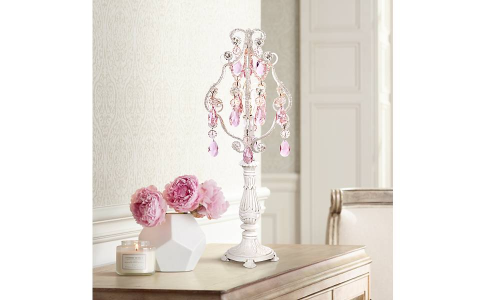 """Pink Droplet 19 1/2"""" High White Mini Chandelier Accent Lamp"""