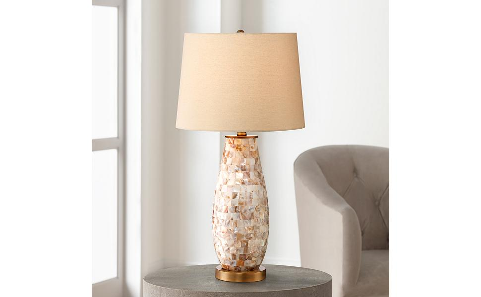 Kylie Cottage Style Table Lamp Mother Of Pearl Tile Vase Glass Brass Metal Beige Drum Shade Decor For Living Room Bedroom House Bedside Nightstand Home Office Reading Family Regency Hill
