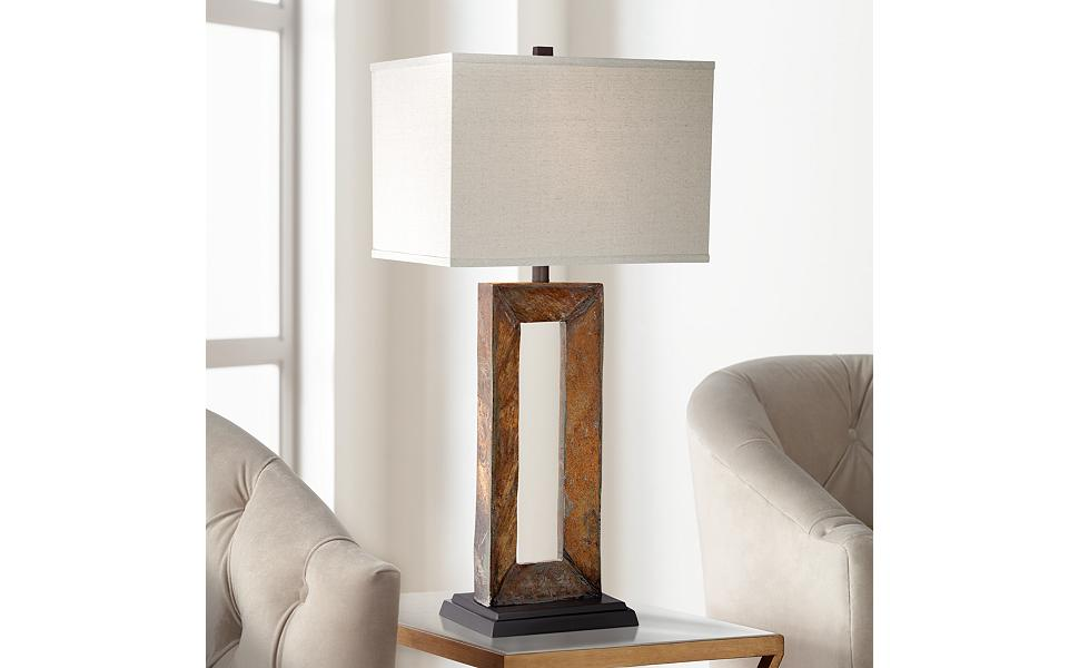 rectangular table lamp low profile tahoe large rectangular slate table lamp amazoncom