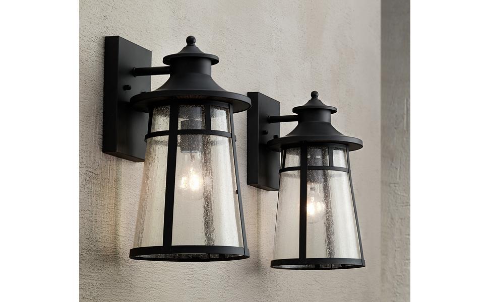 "Clement 15"" High Black Outdoor Wall Lights Set of 2"
