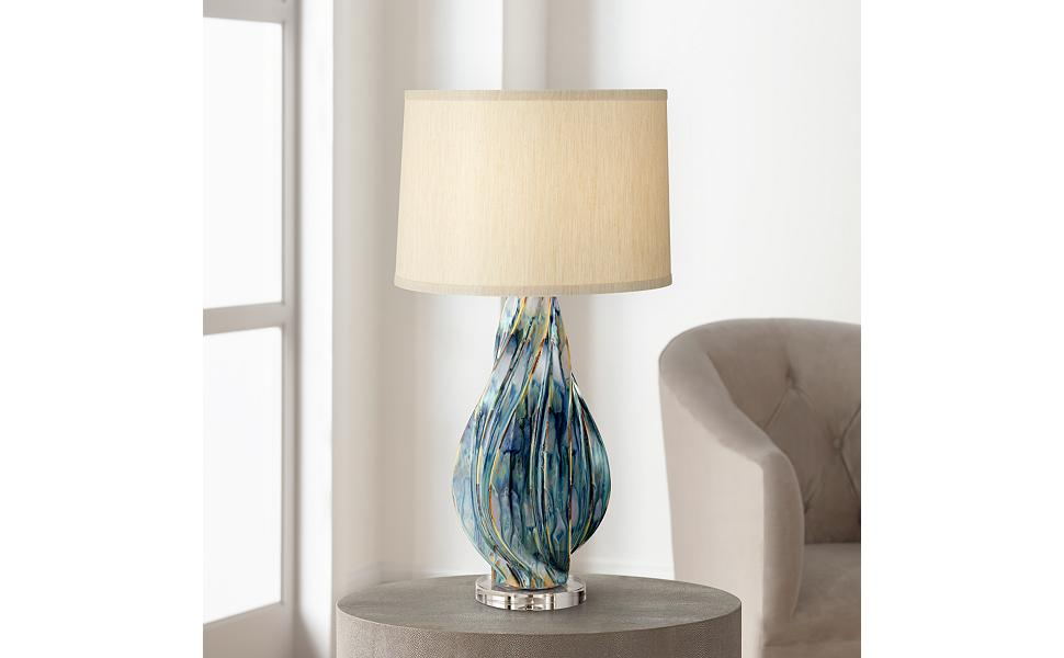 Teresa Modern Table Lamp Ceramic Hand Painted Teal Drip Beige Fabric