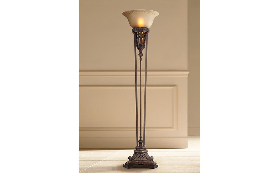 Traditional Torchiere Floor Lamp With Nightlight Bronze