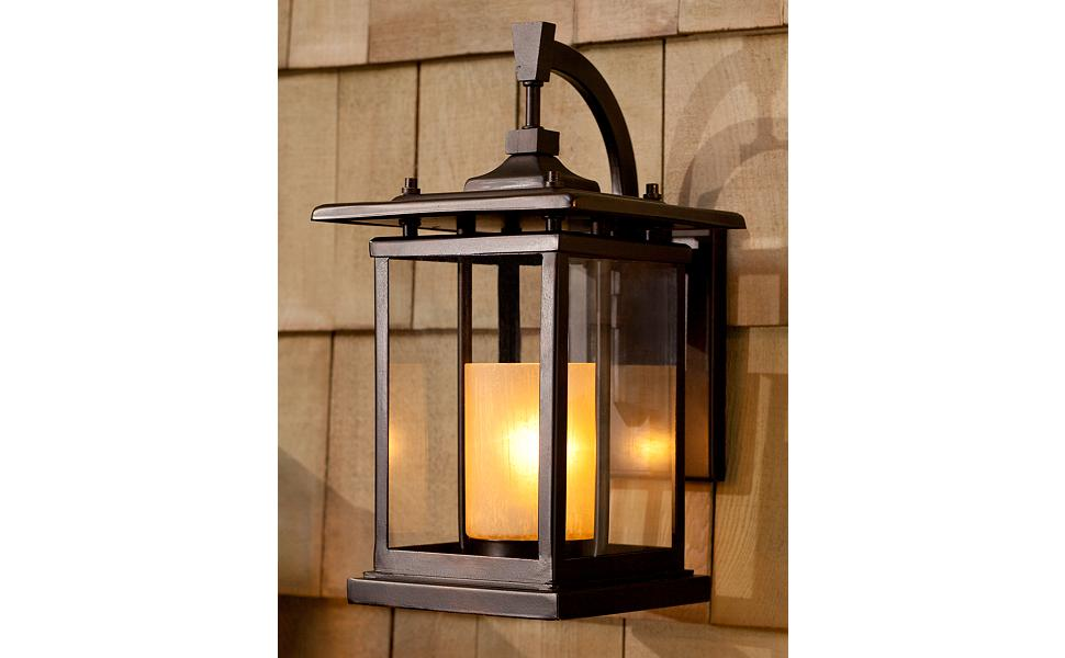 Foxmoore Mission Outdoor Wall Light Fixture Bronze 14 1 2 Clear And Amber Glass Candle For Exterior House Porch Patio Franklin Iron Works Amazon Com