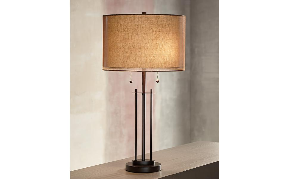 Howell Modern Contemporary Industrial Table Lamp Bronze Metal Base Rose Gold Soft Tan Linen Double Drum Shade For Living Room Bedroom House Bedside Nightstand Home Office Family Franklin Iron Works