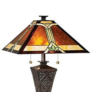 Mission Table Lamp Bronze Wicker Pattern Stained Art Glass Shade for Living Room Family Bedroom Bedside Robert Louis Tiffany
