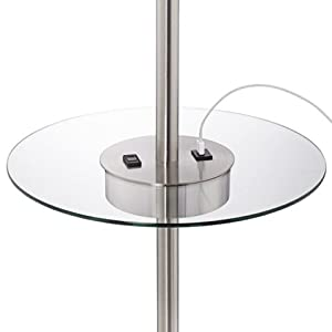 Caper Nickel Tray Table Floor Lamp with USB Port and Outlet