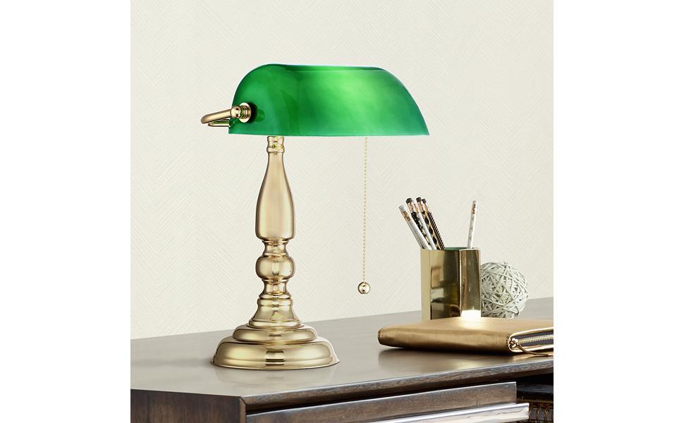 Hammond Green Glass Brass Bankers Table Lamp Amazon Com