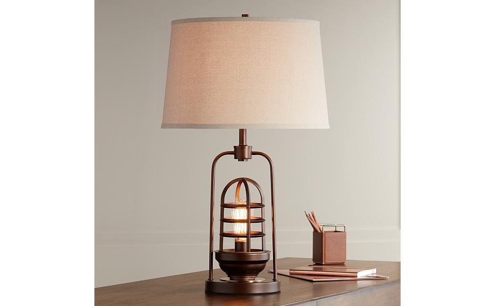 Hobie Bronze Nightlight Cage Table Lamp