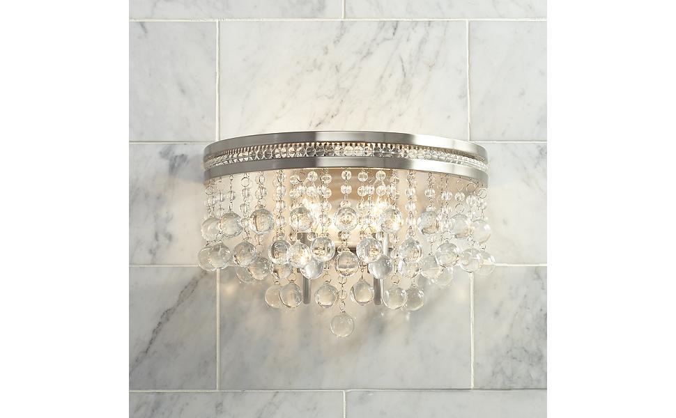 Regina Wall Light Sconce Brushed Nickel Hardwired 9 1 2 High 2 Light Fixture Crystal Accents For Bedroom Bathroom Hallway Vienna Full Spectrum