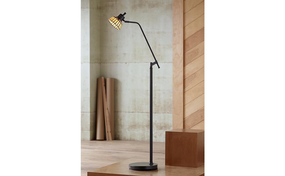 NEW Regents Park Table /& Floor Lamp with Metal Column Base /& Black Shades