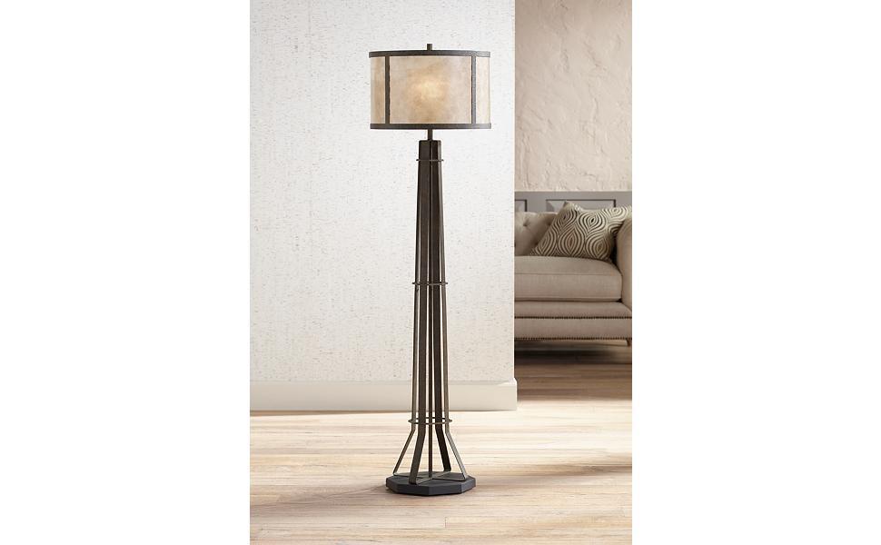 Winston textured bronze industrial floor lamp mica shade amazon winston textured bronze industrial floor lamp mica shade aloadofball Choice Image