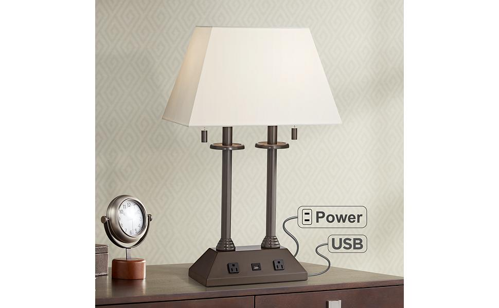 Charlton Bronze Workstation Desk Lamp with Outlets and USB