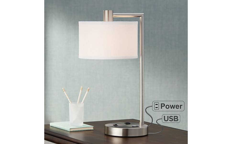 Colby Brushed Nickel Desk Lamp With Outlet And Usb Port Amazon Com