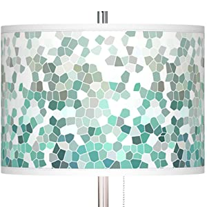 Aqua Mosaic Brushed Nickel Pull Chain Floor Lamp
