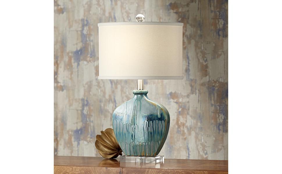 Amazon.com: possini Euro Mia Azul Lámpara de mesa de ...