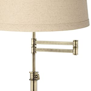 Westbury Burlap Shade Brass Swing Arm Floor Lamp