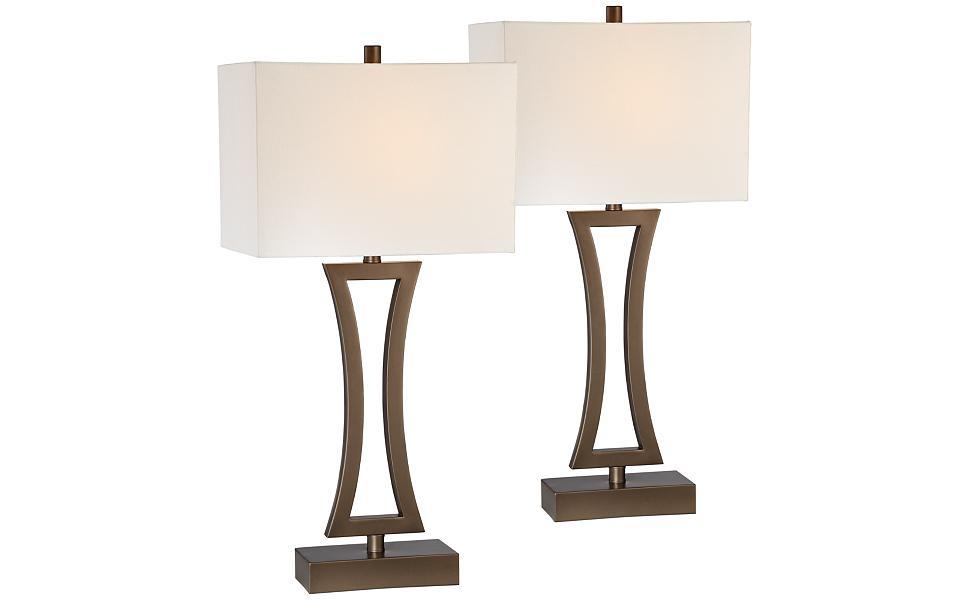 Bon Roxie Bronze Metal Table Lamp Set Of 2