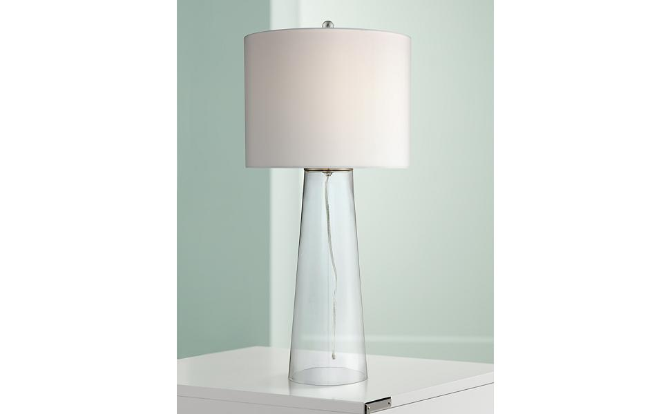 Marcus Coastal Contemporary Table Lamp Clear Glass Tapered Column White Drum Shade Decor For Living Room Bedroom Beach House Bedside Nightstand Home Office Entryway Family 360 Lighting Amazon Com