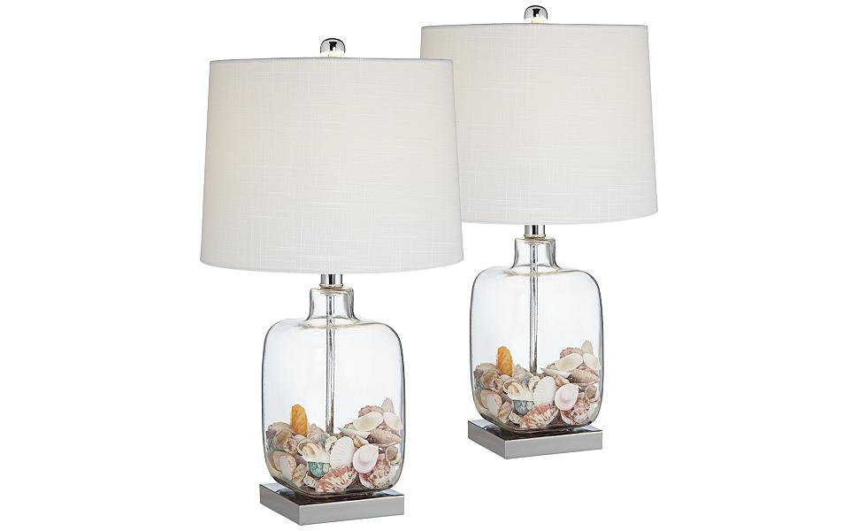 square clear glass fillable table lamp set of 2. Black Bedroom Furniture Sets. Home Design Ideas