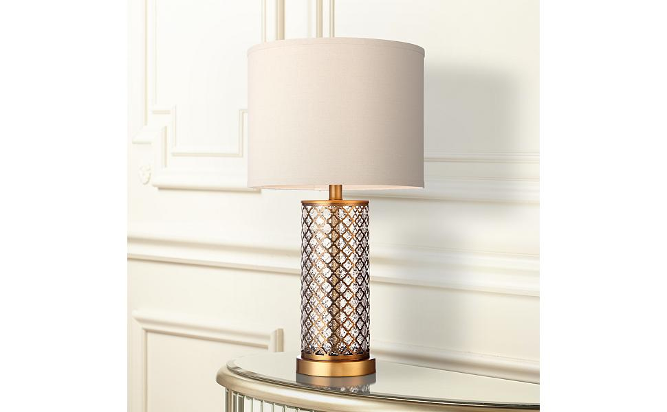 Alcazar Brass And Mercury Glass Table Lamp Amazon Com