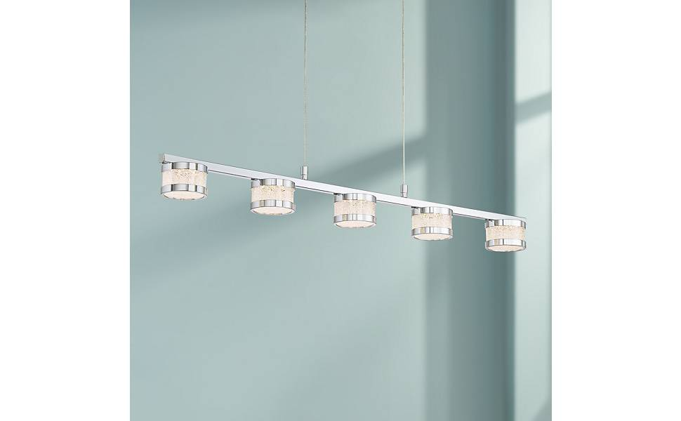 "Possini Euro Liv 35 1/2"" Wide Chrome 5-LED Island Pendant"