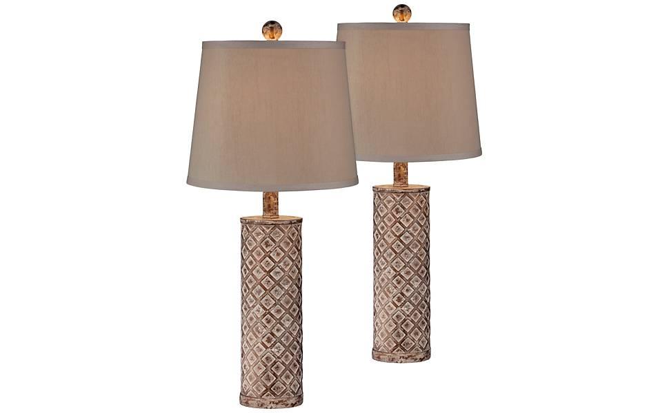 Modern Table Lamps Set of 2 Blue Lattice Pattern Column for Living Room Family