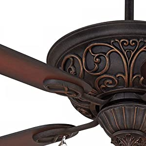 52 Quot Contessa Ceiling Fan With Light Led Chandelier Dark Bronze Copper Shaded Cherry Blades For