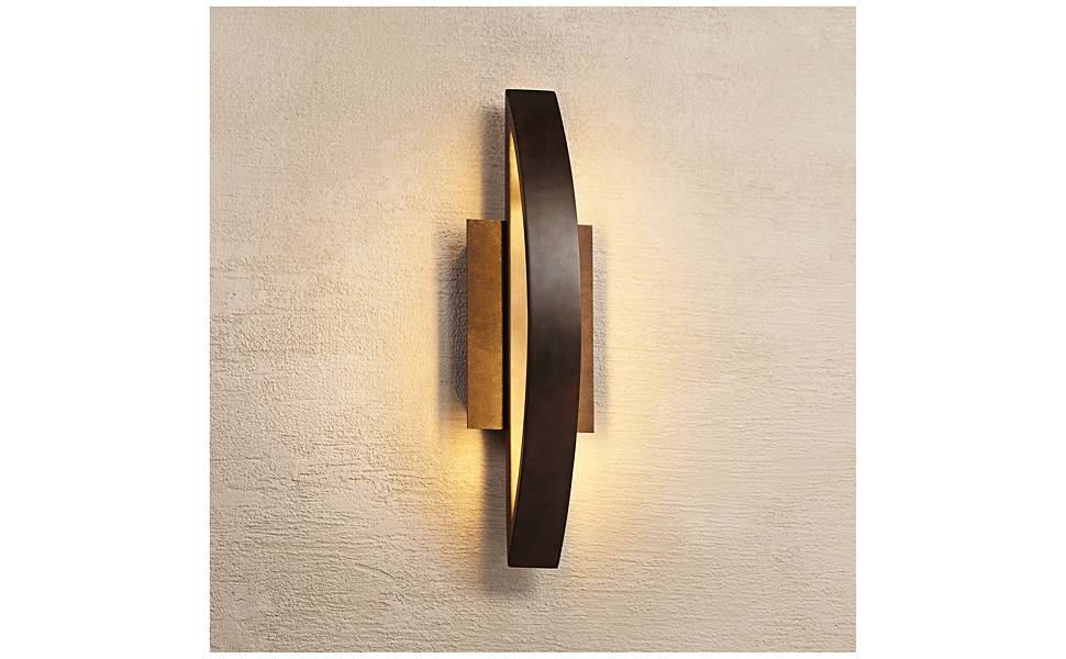 Possini Euro Coppered Arch Indoor-Outdoor LED Wall Sconce
