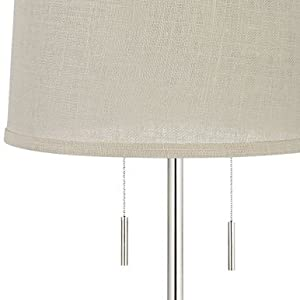 Abba Cream Burlap Twin Pull Chain Floor Lamp