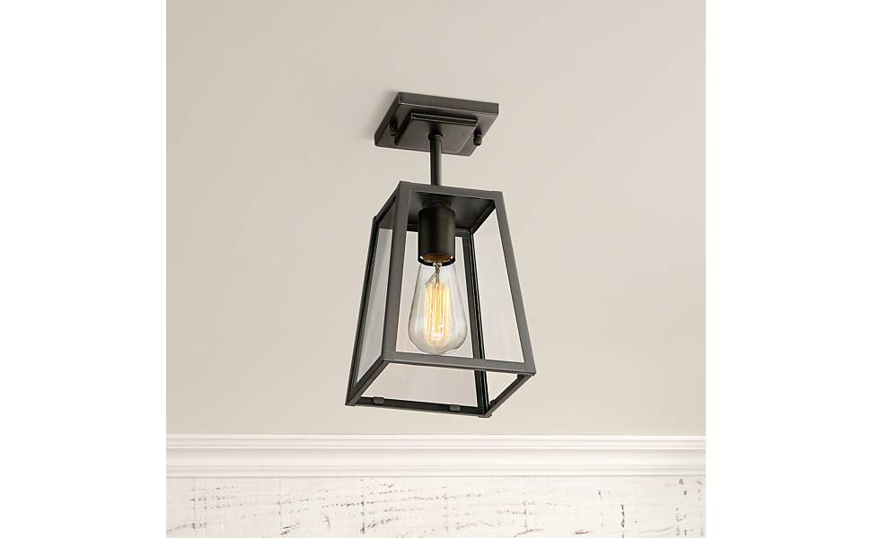 Arrington Modern Industrial Outdoor Ceiling Light Hanging Fixture Mystic Black 6 Clear Glass Damp Rated For Exterior House Porch Patio Outside Deck Garage Front Door Home Roof John Timberland