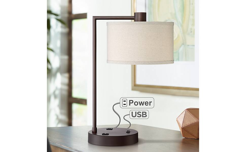 Amazon.com: Colby Bronze Finish Desk Lamp with Outlet and ...
