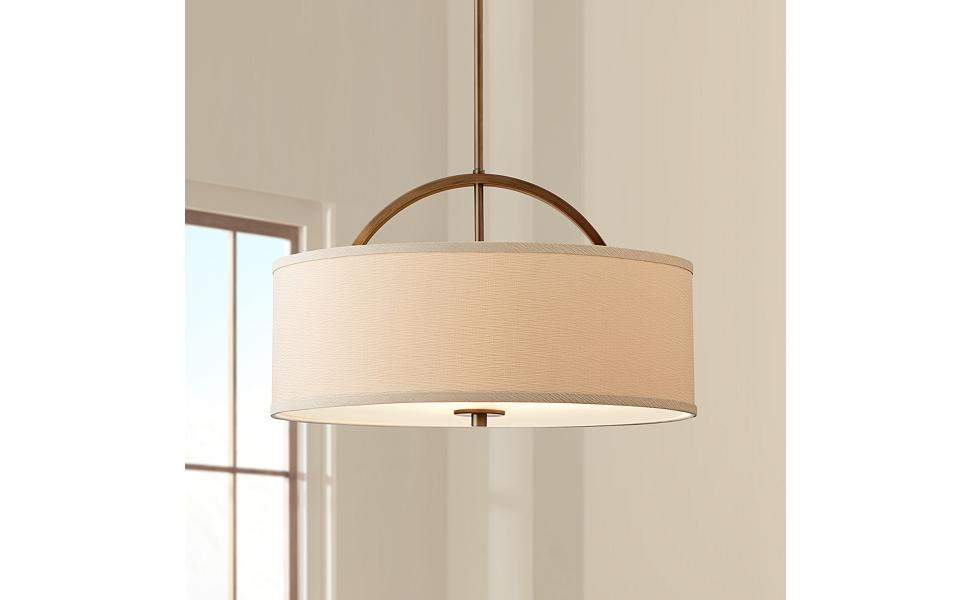 "Danville Linen Shade 20"" Wide Brushed Bronze Pendant Light"