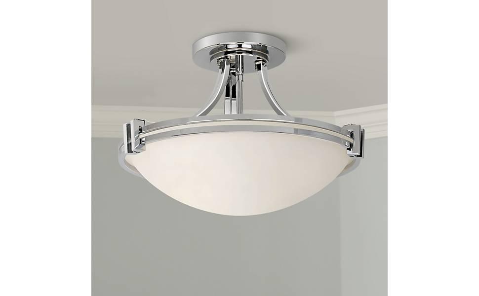 Art Deco Nove Brushed Nickel Semi Flush Mount Ceiling Light Fixture Home Decor