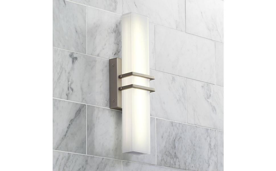 "Exeter Modern Wall Light LED Brushed Nickel 17"" Vanity"