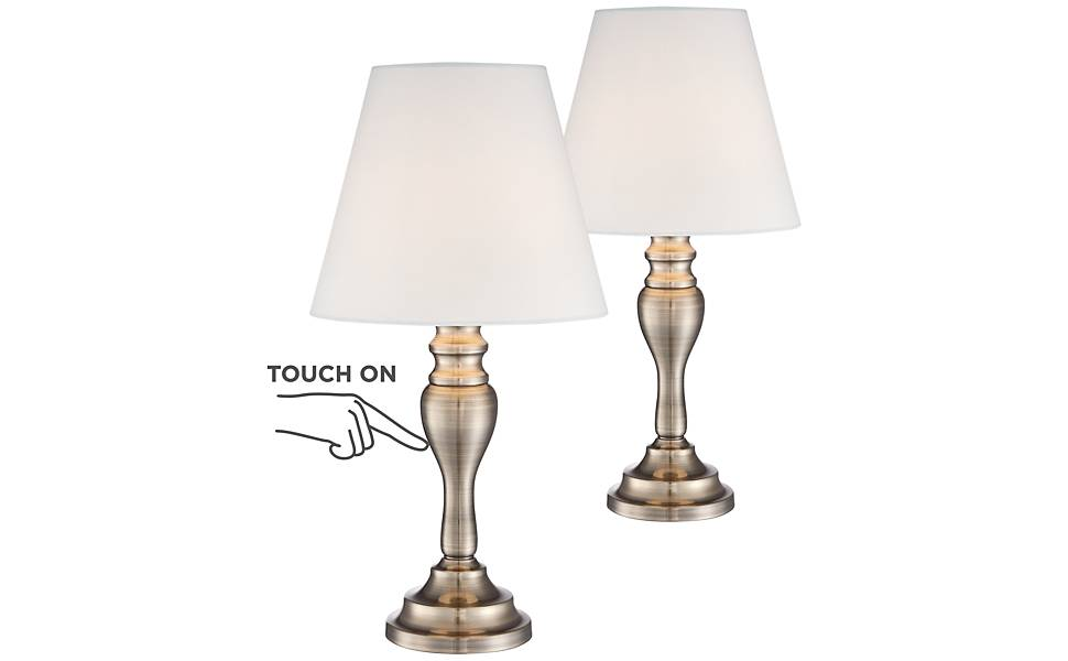 """Brass Finish 19 1/4"""" High Touch On-Off Table Lamp Set of 2"""