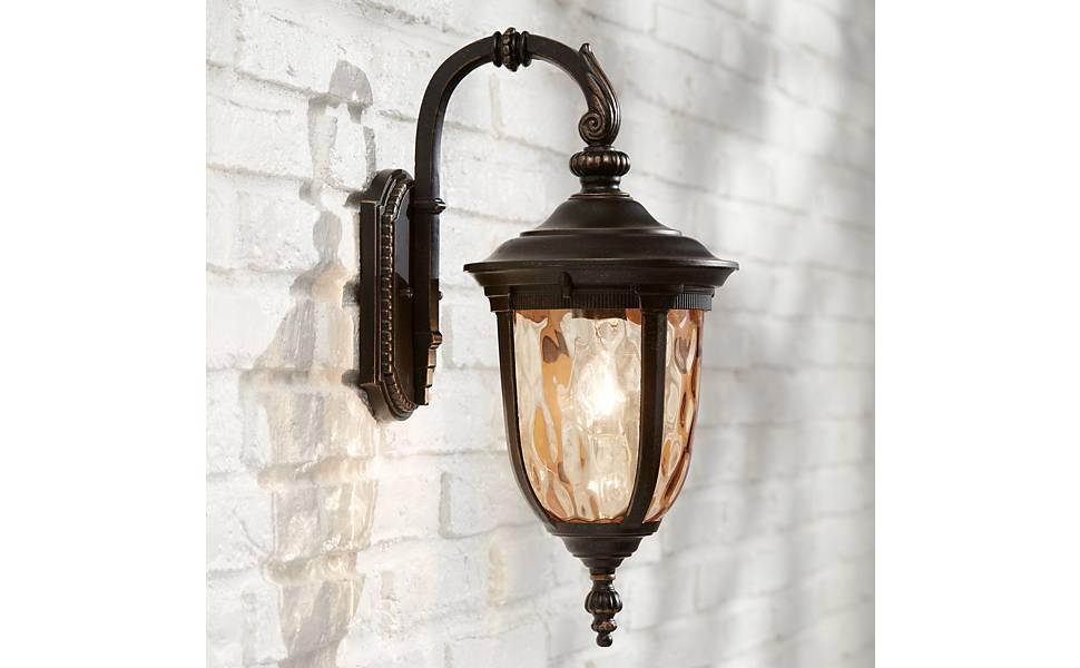 """2-Light Bronze wall Light Outdoor Traditional 20/"""" H x 10/"""" W Front Door Aluminum"""