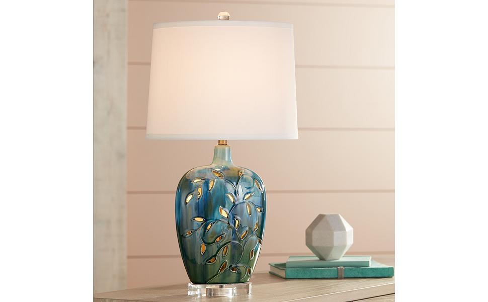 Amazon.com: Devan Vines - Lámpara de mesa de cerámica con ...