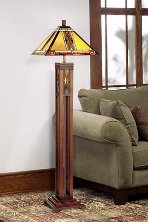 Walnut mission tiffany style night light floor lamp mission floor light up your room with this mission style floor lamp a clean lined walnut finish column base leads to a tiffany style glass shade that features a subtle mozeypictures Images